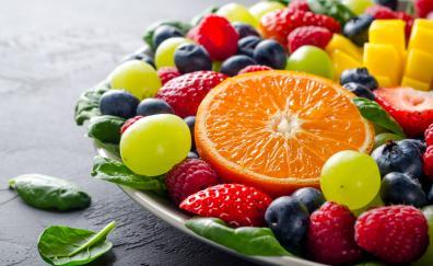 Fruits, salad, berries, grapes, fresh