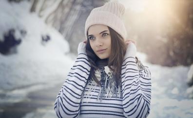 Winter outdoor girl model