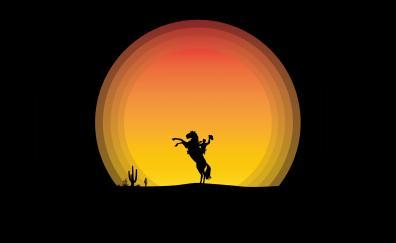 Horse, moon, rider, silhouette, minimal