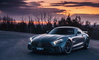 Sunset, Mercedes-AMG GT, luxury car
