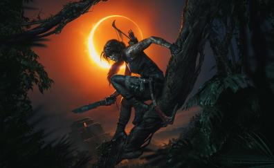Shadow of the Tomb Raider, video game, dark, night, Lara Croft