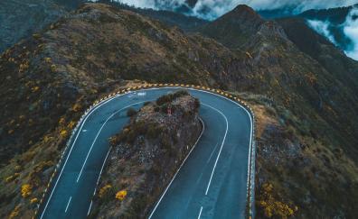 Aerial view road turn highway