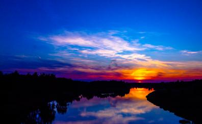 Sunset river reflections