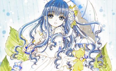 Blue long hair tomoyo daidouji umbrella