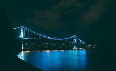 Night river bridge city