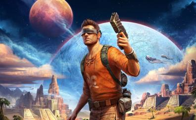 Outcast, video game, man with gun