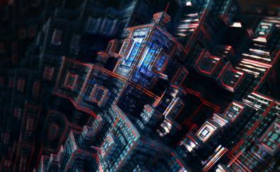 Fractals dark cubes 4k