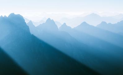 Nature, foggy, horizon, mountain range
