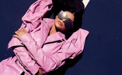 Kylie Jenner, pink dress, sunglasses, lying down
