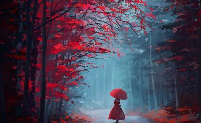 Touhou, autumn, tree, forest, girl