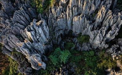 Stone forest, rocks, aerial view, nature