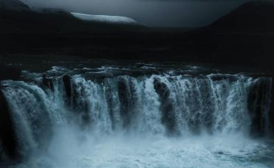 Iceland, waterfall, evening, nature