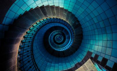 Spiral, stairs, architecture, house, building