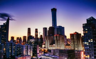 Buildings of beijing cityscape dawn