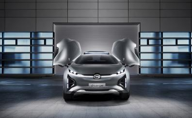 GAC Enverge electric suv, front, doors open, 2018
