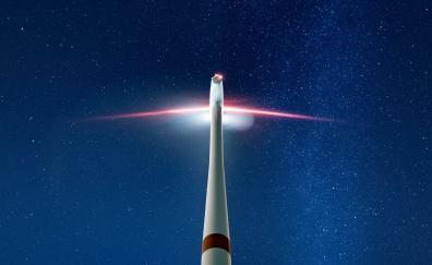 Wind turbine starry sky