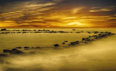 Yellow, sunset, coast, rocks