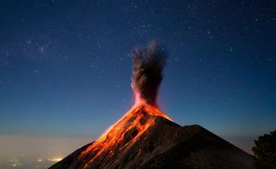 Volcano, eruption, lava, mountain
