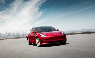 Tesla Model 3, on-road, red