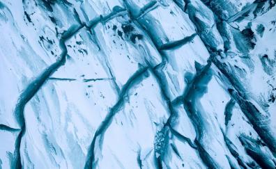 Ice, glacier, aerial view