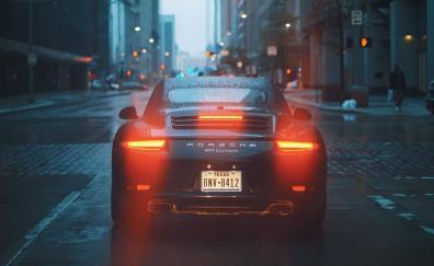 Porsche 911 carrera s rear on road