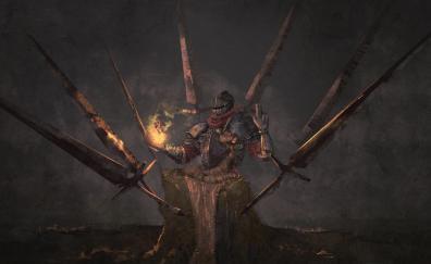 Warrior, Dark Souls, video game, swords, art