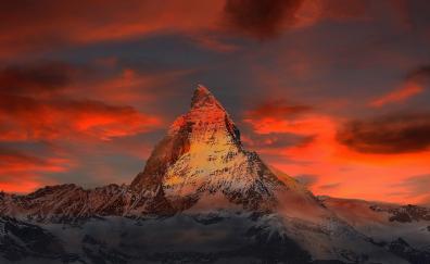 Matterhorn, sunset, clouds, mountains