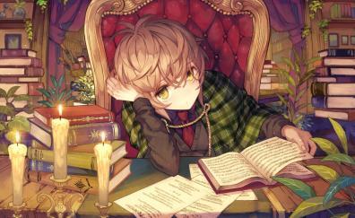 Reading book anime girl lazy