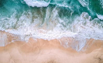Aerial view, sea waves, beach, green white