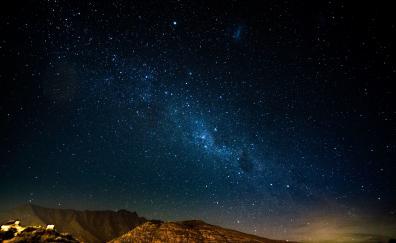 Starry night mountains radiance glitter 4k