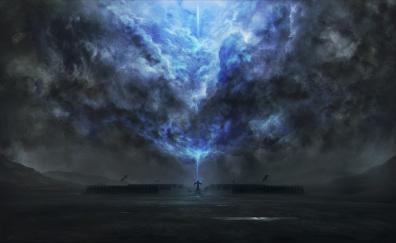 Dark tower magic fantasy clouds art