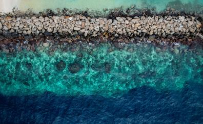 Blue green water, aerial view, rocks, coast