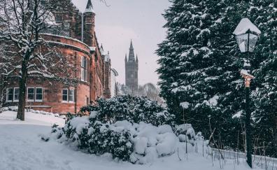 Glasgow city winter buildings