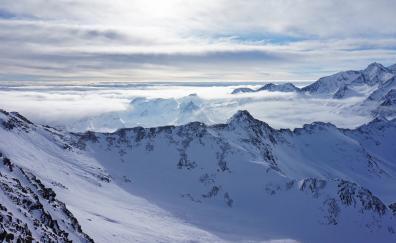 Snowy mountains, nature, clouds, skyline, landscape