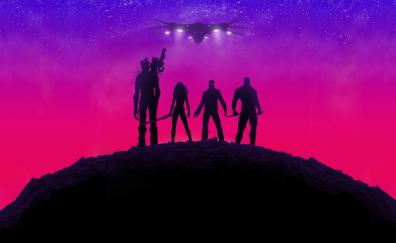 Guardians of the galaxy movie neon lights poster