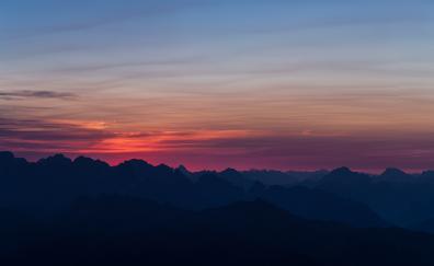 Mountains sunset sky horizon