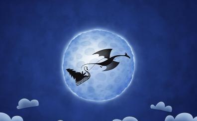 Dragon moon santa digital art
