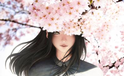 Anime girl original cherry blossom sakura