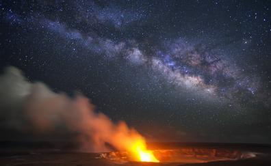 Hawaii volcano eruption milky way night copy