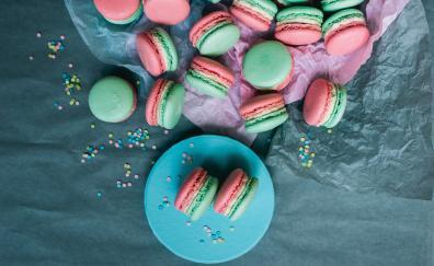 Macarons, food, colorful, cookies