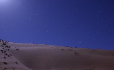 Desert, landscape, starry night, nature