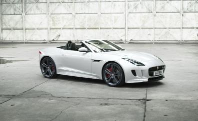 White jaguar f type sports car