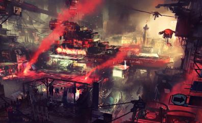 Fantasy, cyperpunk, cityscape, art