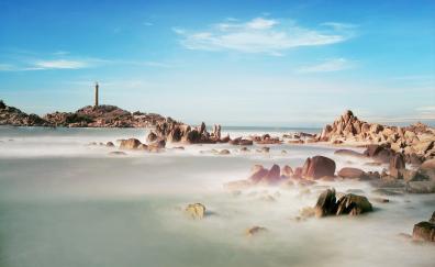 Beach coast rocks