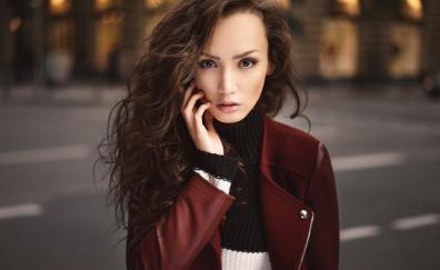 Red jacket girl model