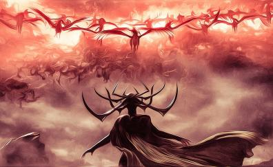 Hela, villain, Thor: Ragnarok, movie, art
