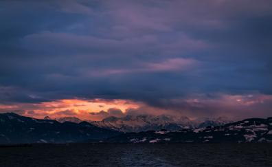 Clouds sunset mountains sea nature