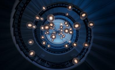 Staircase, lights, ceiling, spiral, architecture, interior