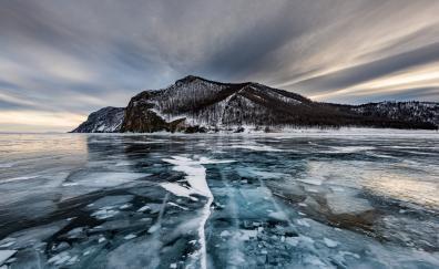 Olkhon island ice lake