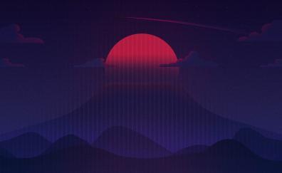 Sunset, minimal, artwork